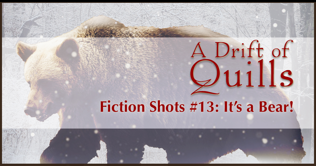 A Drift of Quills: Fiction Shots #13— It's flash fiction! Three different stories inspired by one picture. This round: A magical woman holding hands with a … bear! [www.robinlythgoe.com/blog]